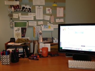 cluttered desk top