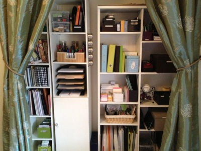 My office closet, part of the Clutter-Free and Awesome: 12 Pretty Organized Spaces article on iVillage
