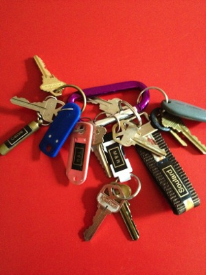 Friends' keys are labeled and put on a carabiner for easy access