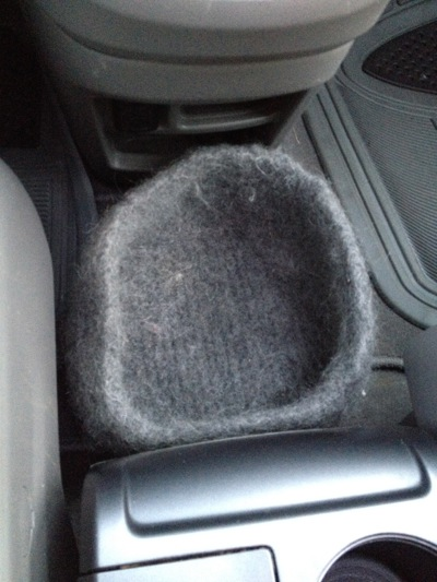 A felted knit basket makes a great car wastebasket