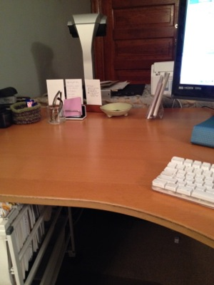 Just ten minutes of decluttering took this desk from chaos to calm