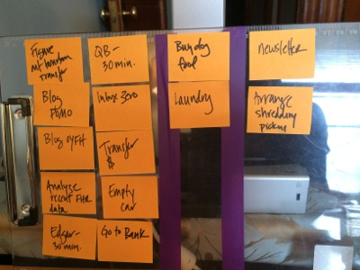 Using a kanban clipboard to stay on top of tasks