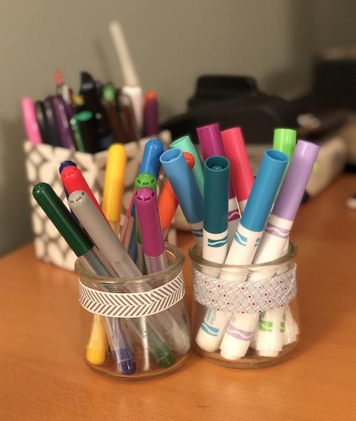 Oui yogurt jars make great pen holders